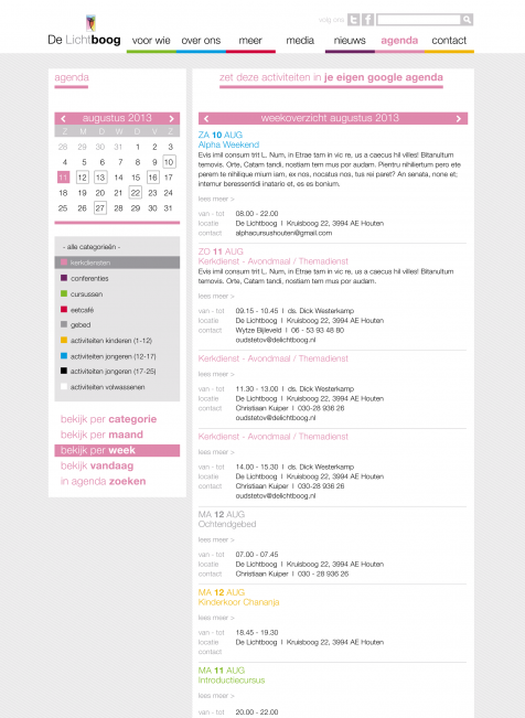 DeLichtboog web agenda